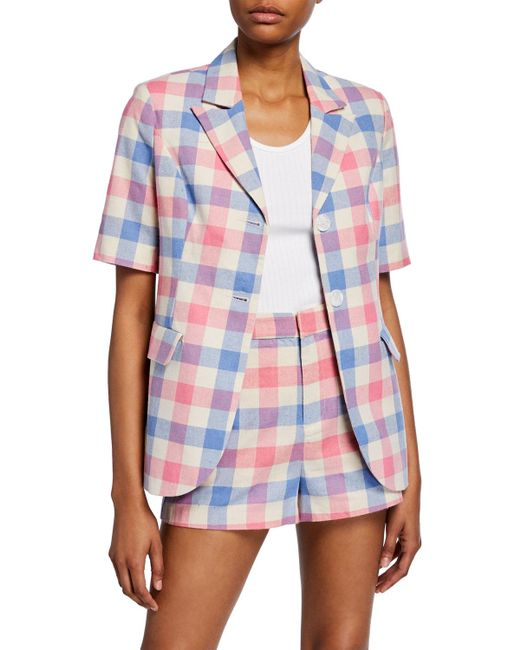 English Factory Blue Check Structured Two-button Short-sleeve Blazer