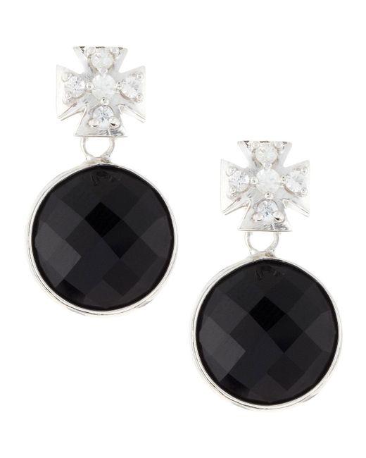 Elizabeth Showers | Pave Maltese Cross Black Onyx Dangle & Drop Earrings | Lyst