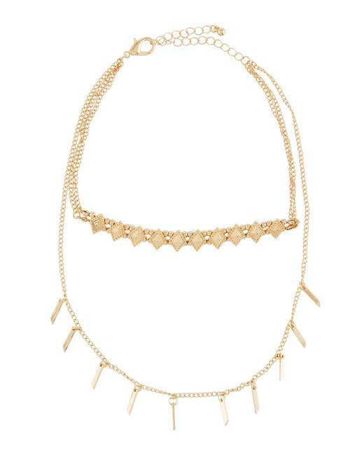 Panacea | Metallic Double-row Layered Fringe Necklace | Lyst