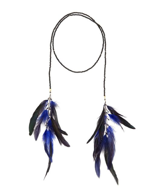 Nakamol - Blue Crystal Lariat Feather Necklace - Lyst