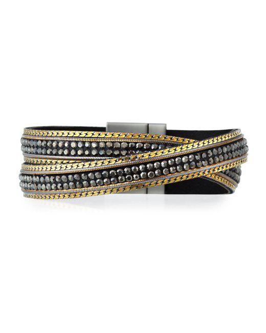 Panacea - Gray Hematite & Leather Crisscross Bracelet - Lyst