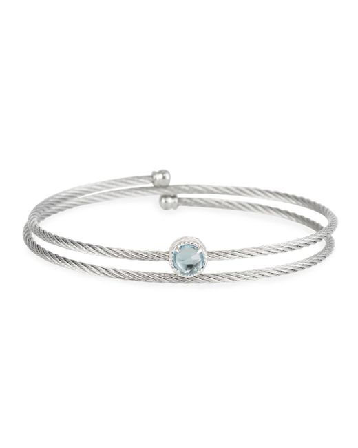 Alor - Gray Cable Single-wrap Bangle Bracelet With Blue Topaz - Lyst