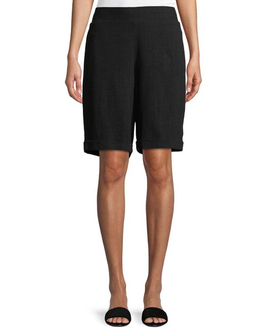 Neiman Marcus - Black Linen Bermuda Cuffed Shorts - Lyst