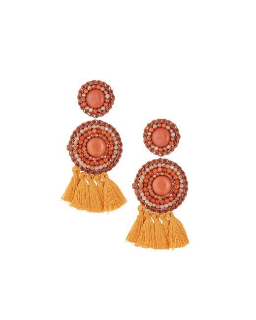 Panacea - Orange Rust Stone & Rope Circle Drop Earrings - Lyst