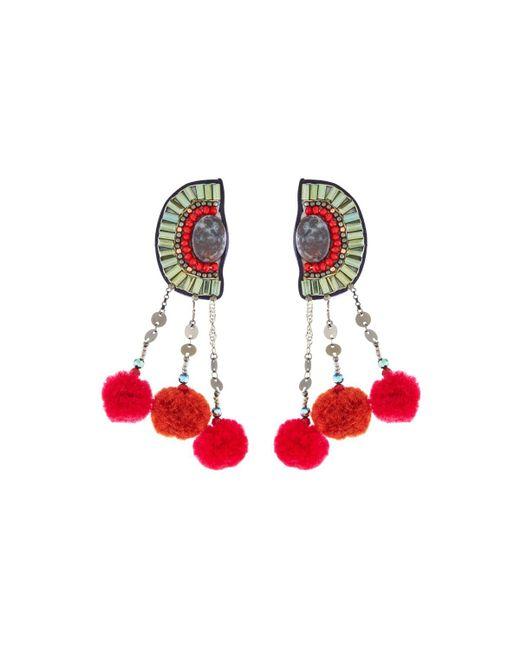 Nakamol - Red Pompom Half-circle Earrings - Lyst