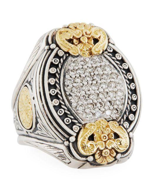 Konstantino - Metallic Asteri Ornate Oval Pave White Diamond Ring - Lyst