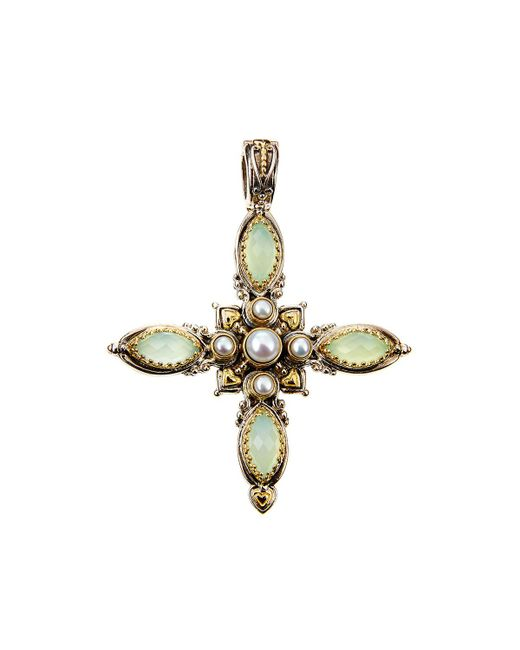 Konstantino | Blue Amphitrite Agate & Pearl Cross Pendant Enhancer | Lyst