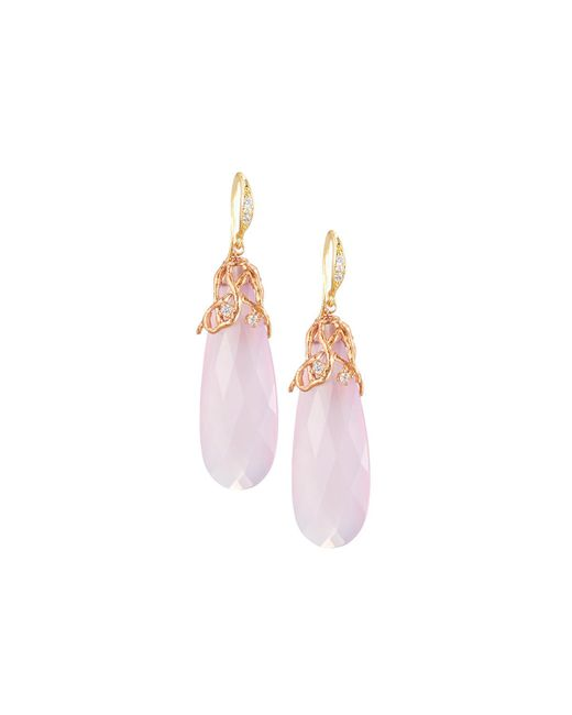 Indulgems | Pink Lavender Chalcedony Drop Earrings | Lyst