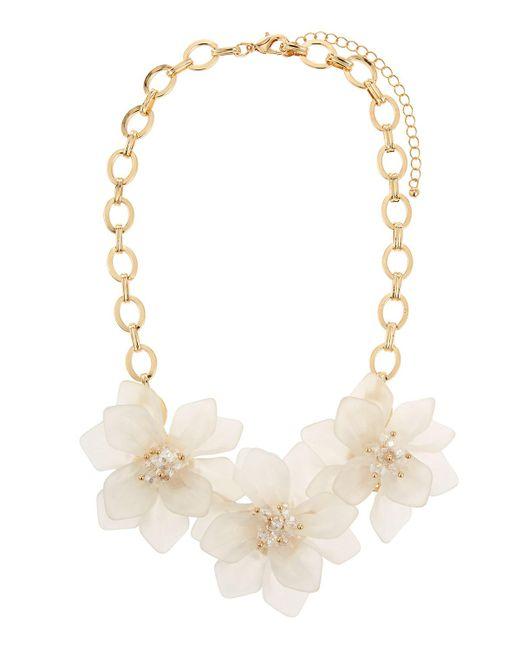 Fragments - Metallic Flower Statement Necklace - Lyst