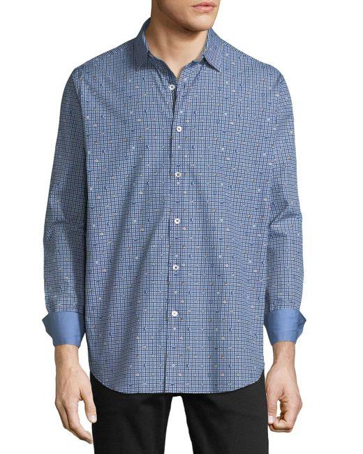 Bugatchi - Blue Men's Classic-fit Button & Gingham Print Sport Shirt for Men - Lyst