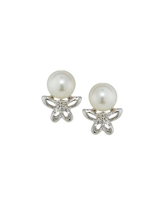 Belpearl | 14k White Gold Pearl & Diamond Butterfly Stud Earrings | Lyst