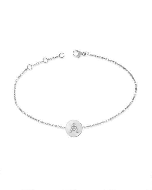KC Designs | 14k White Gold Diamond Disc Initial Bracelet | Lyst
