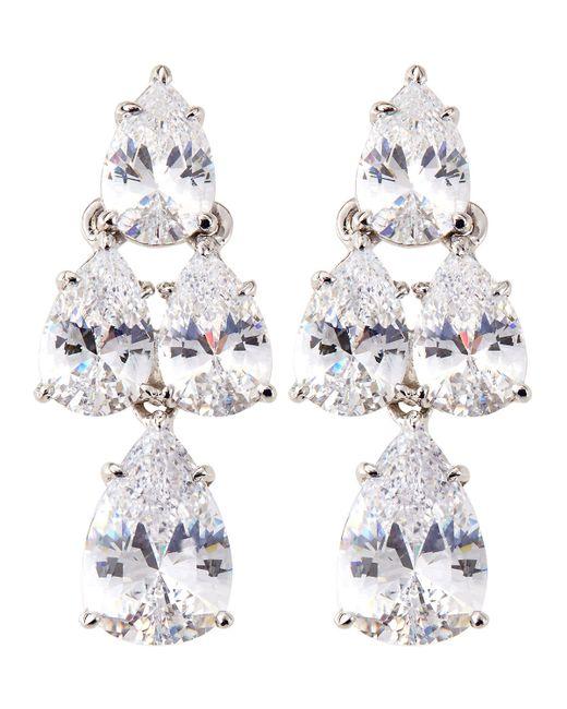 Fantasia by Deserio | White Pear-cut Cz Waterfall Chandelier Earrings | Lyst