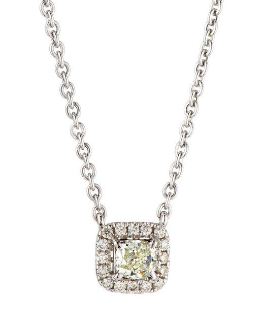 Neiman Marcus - 14k White Gold Diamond Cushion Solitaire Pendant Necklace - Lyst