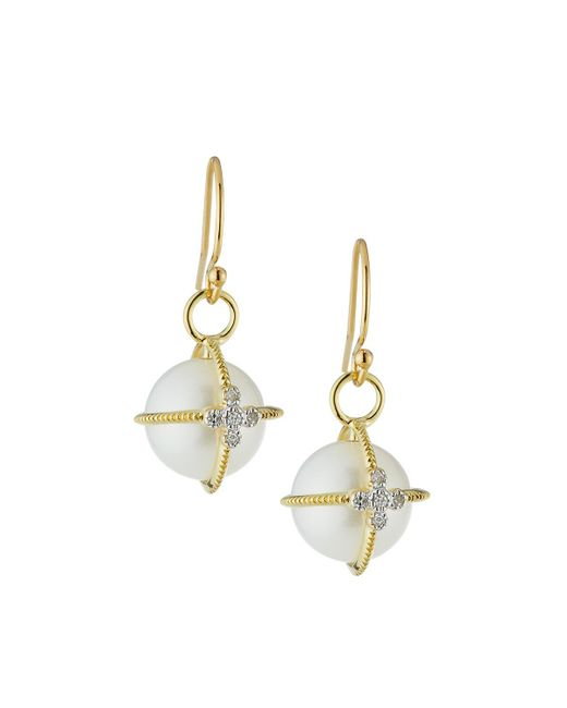 Jude Frances - Metallic 18k Gold Lacey Pearl & Diamond Sphere Earrings - Lyst