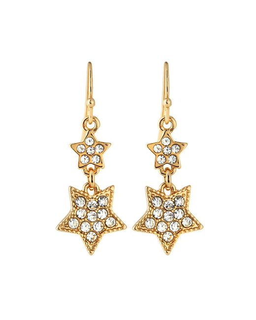 Lydell NYC | Metallic Double-star Pave Drop Earrings | Lyst