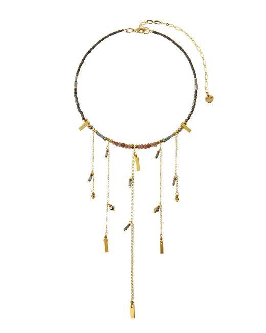 Nakamol | Gray Beaded Fringe Choker Necklace | Lyst