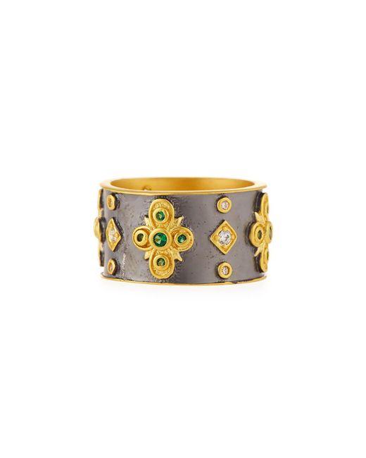 Freida Rothman - Metallic Cubic Zirconia Floral Cigar Band Ring - Lyst