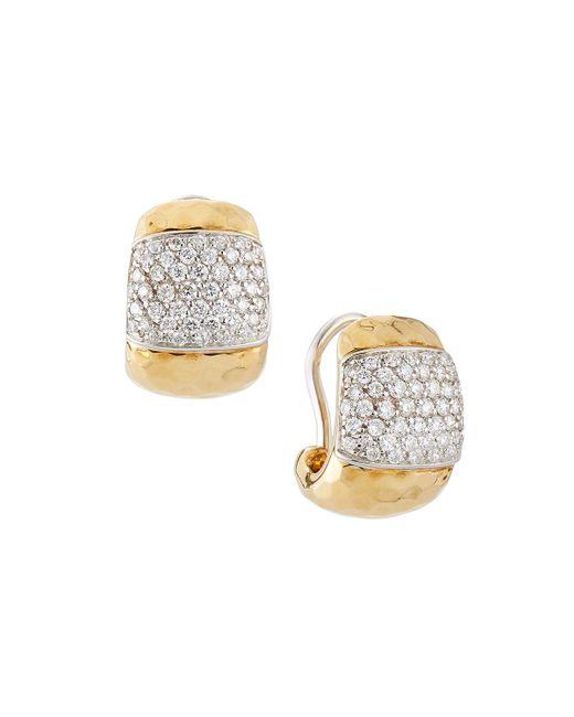 Roberto Coin - Metallic Martellato 18k Huggie Hoop Earrings W/ Diamonds - Lyst