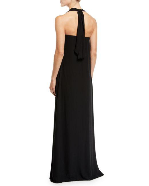 Lyst - Brunello Cucinelli Halter-neck Silk-chiffon Evening Gown in Black