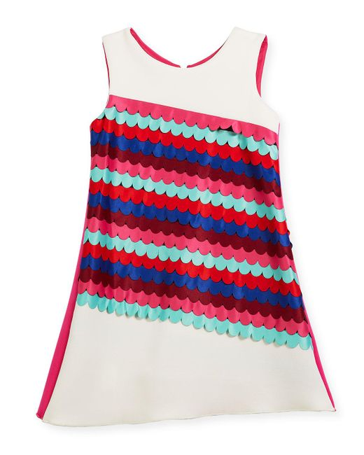 Zoe - Multicolor Scallop Front Sleeveless Shift Dress - Lyst