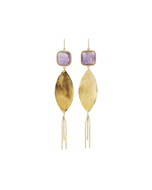 Devon Leigh | Purple Square Crystal Dangle Earrings | Lyst