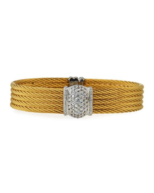 Alor | Yellow Five-row Stacked Bangle W/ White Sapphires | Lyst