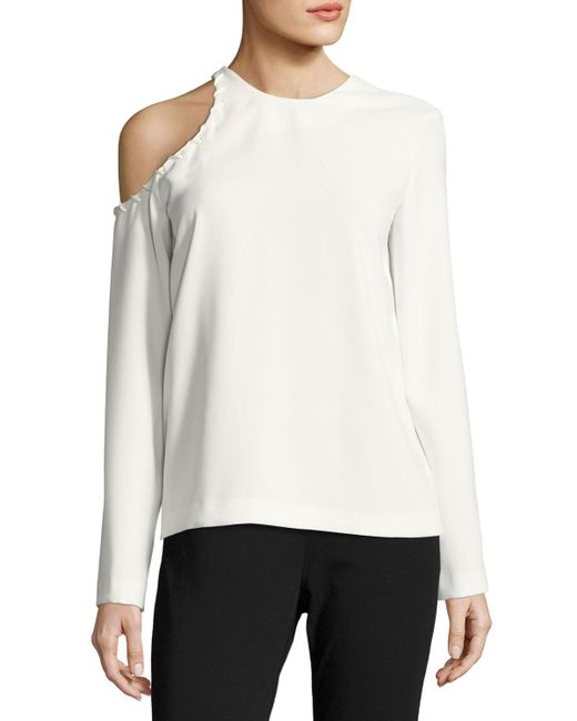 c13ff6ea48a IRO Bherock Cold-shoulder Long-sleeve Crepe Top in White - Save 34 ...