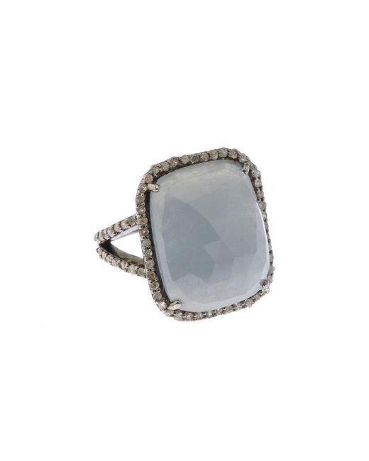 Bavna - Metallic Silver Square Ring With Multicolor Sapphire & Diamonds - Lyst