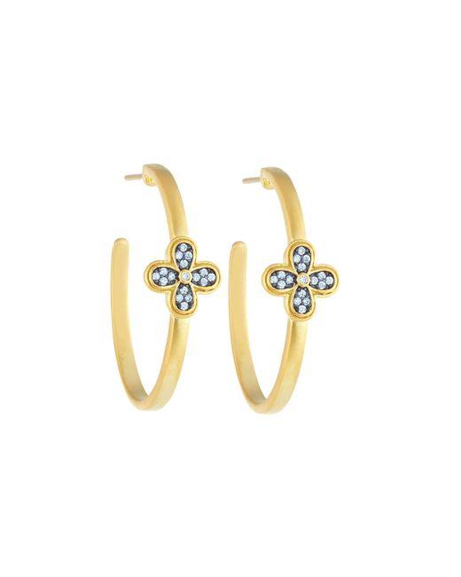 Freida Rothman - Metallic Crystal Clover Hoop Earrings - Lyst