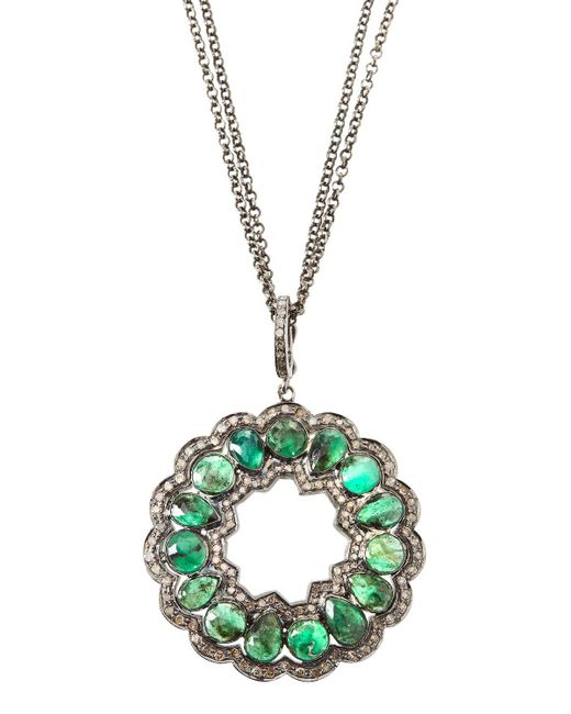 Bavna - Green Emerald & Diamond Open Pendant Necklace - Lyst