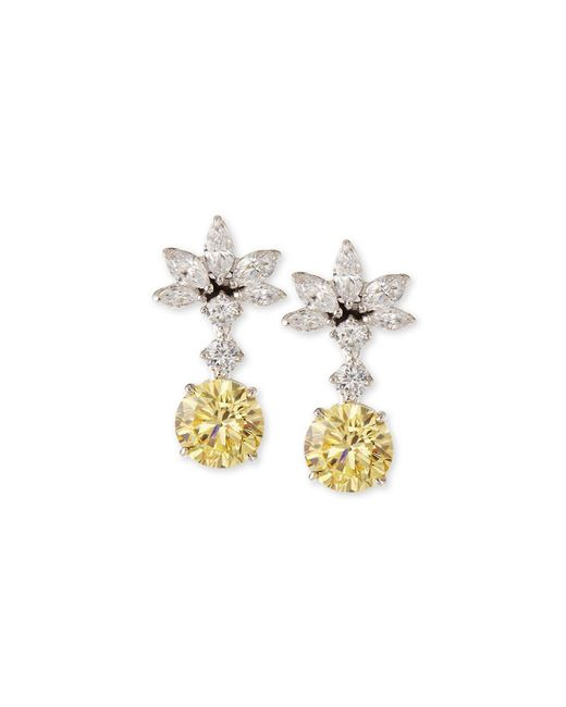 Fantasia by Deserio   Canary Yellow Cz Drop Earrings   Lyst
