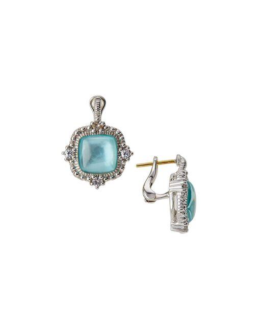 Judith Ripka | Blue La Petite Mother-of-pearl Cushion Drop Earrings | Lyst