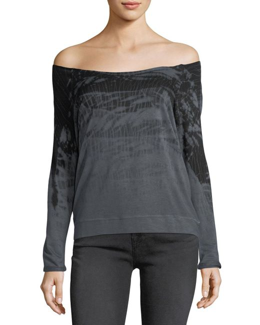 Gypsy 05 - Gray Comfy Off-the-shoulder Tie-dye Tee - Lyst