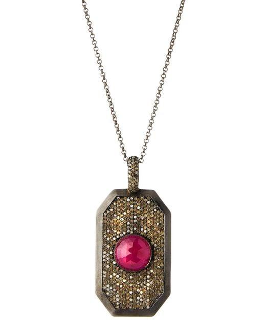 Bavna | Red Pave Diamond & Composite Ruby Pendant Necklace | Lyst