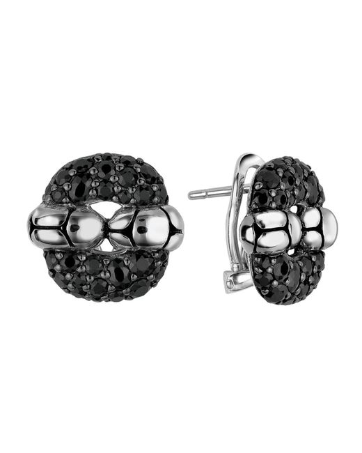 John Hardy | Black Kali Lava Sapphire Rectangle Earrings | Lyst