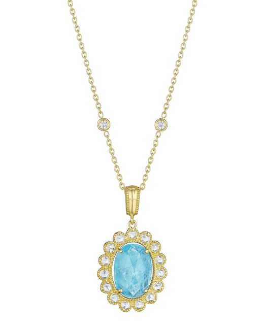 Penny Preville | Metallic Faceted Oval Turquoise & Diamond Pendant Necklace | Lyst