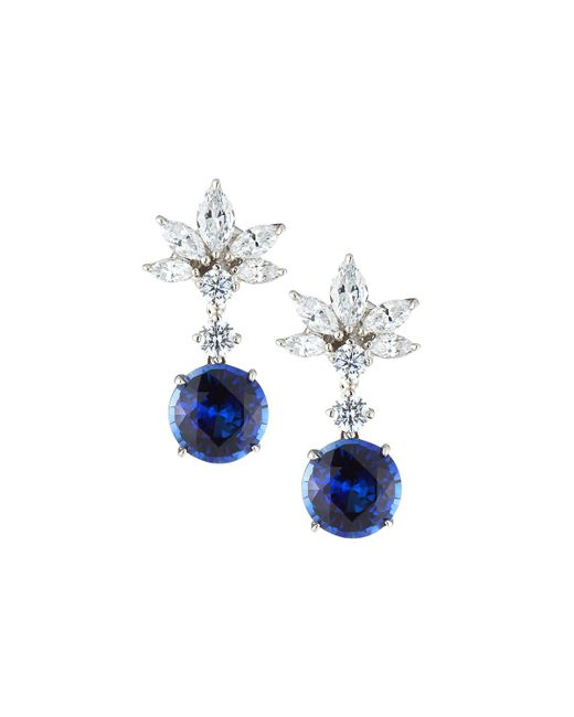 Fantasia by Deserio - Blue Marquise Cluster Cubic Zirconia & Synthetic Sapphire Earrings - Lyst