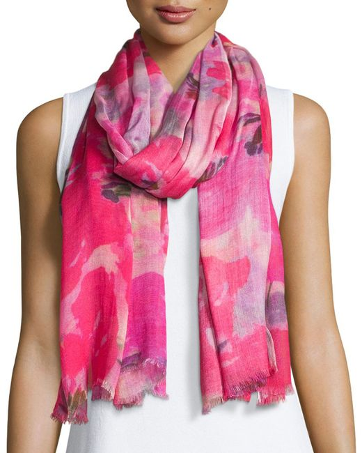 neiman blooming floral fringe scarf in multicolor