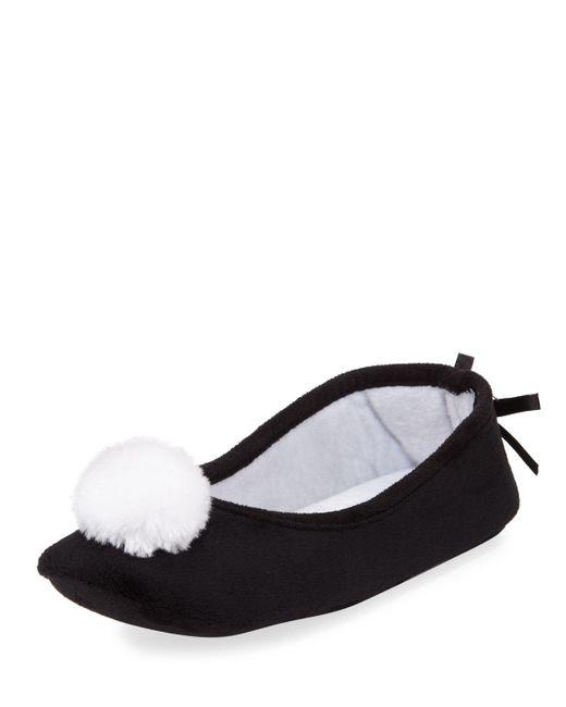 Patricia Green - Black Pompom Fleece Slipper - Lyst