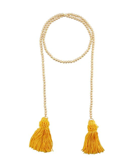 Kenneth Jay Lane | Metallic Beaded Rope Necklace W/ Tassel Ends | Lyst