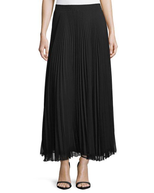 neiman pleated chiffon maxi skirt in black lyst