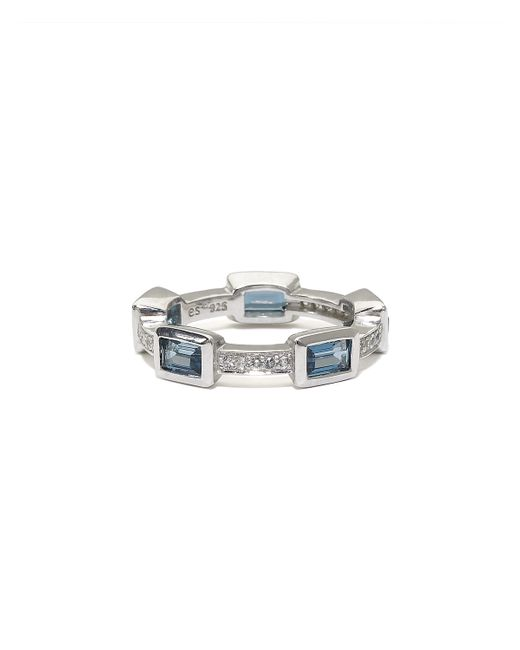 Elizabeth Showers | White London Blue Topaz Deco Puzzle Stack Ring | Lyst