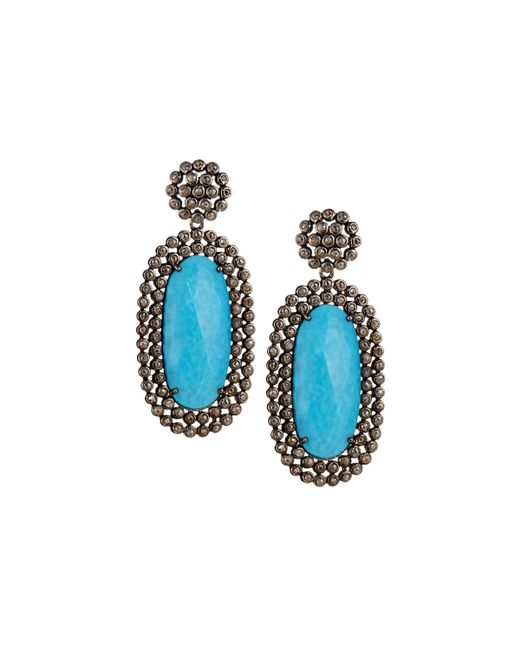 Bavna | Blue Elongated Turquoise Drop Earrings | Lyst