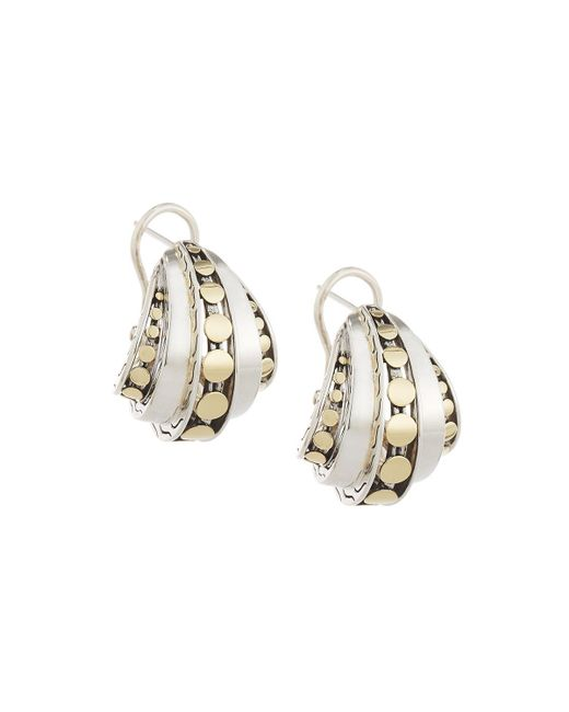 John Hardy - Metallic Dot Deco Buddha Belly Hoop Earrings - Lyst
