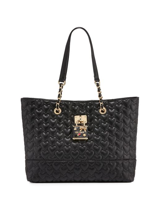 betsey johnson be my baby quilted tote bag in black save