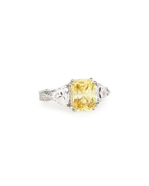 Fantasia by Deserio | Multicolor Emerald-cut Canary & Clear Trillion-cut Cz Crystal Ring | Lyst