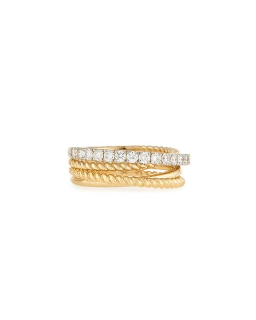 Neiman Marcus | Metallic 14k Two-tone Twisted Diamond Band Ring | Lyst