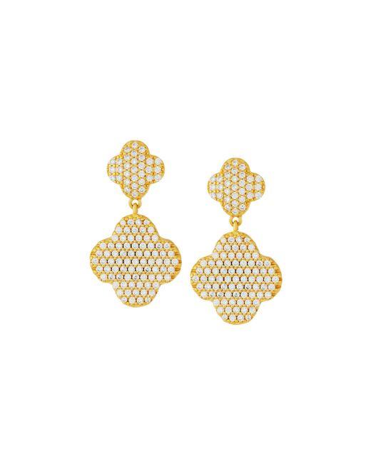Freida Rothman | Metallic Pave Crystal Clover Double-drop Earrings | Lyst