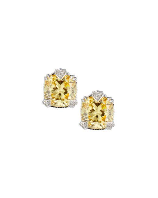 Judith Ripka | Metallic Fontaine Cushion-cut Canary Crystal Button Earrings | Lyst